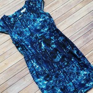 Calvin Klein | Marled Blue Cap Sleeve Sheath Dress